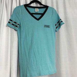 PINK Blue and Black Short Sleeve V-Neck Top